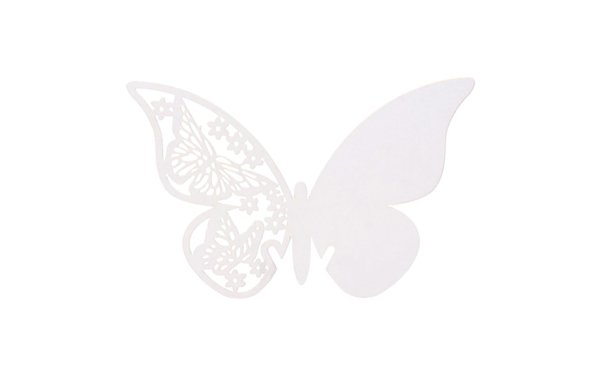 På billedet ser du variationen Bordkort til glasset. Sommerfugl. 10 stk fra brandet i en størrelse H: 6 cm. B: 10,5 cm. i farven Hvid