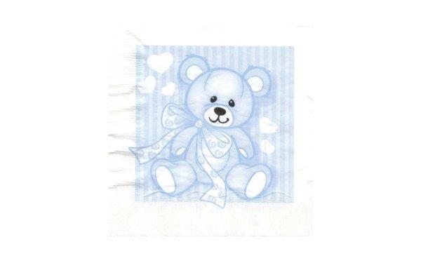 På billedet ser du variationen Frokostserviet med bamse. Til barnedåb fra brandet i en størrelse B: 33 cm. L: 33 cm. i farven Pastelblå