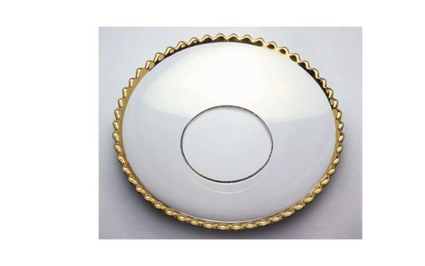 På billedet ser du variationen Lysmanchet. Buede. Med guld kant. Glas fra brandet i en størrelse D: 7 cm. i farven Guld