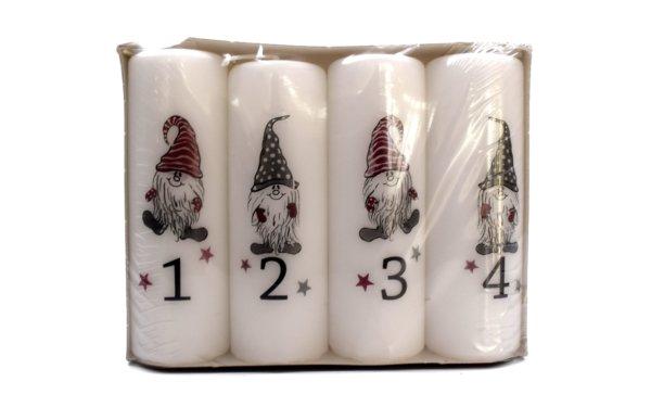 På billedet ser du variationen Advents bloklys med skæg nisser. 4 stk. fra brandet i en størrelse H: 12 cm. B: 4 cm. i farven Hvid